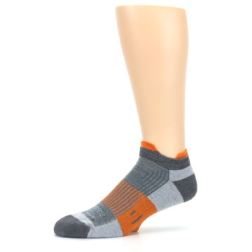 Image of Gray Orange Men's Running Endurance Ankle Socks (side-2-10)