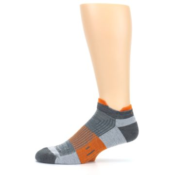 Image of Gray Orange Men's Running Endurance Ankle Socks (side-2-11)