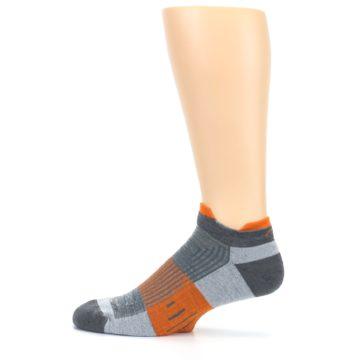 Image of Gray Orange Men's Running Endurance Ankle Socks (side-2-12)