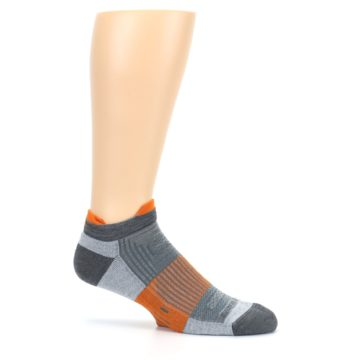 Image of Gray Orange Men's Running Endurance Ankle Socks (side-1-25)