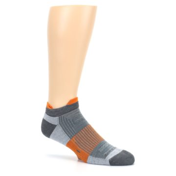 Image of Gray Orange Men's Running Endurance Ankle Socks (side-1-26)