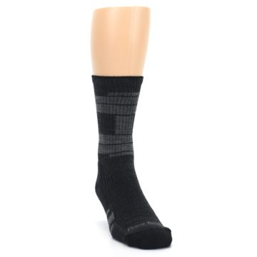 Image of Charcoal Gray Men's Running Endurance Crew Socks (side-1-front-03)