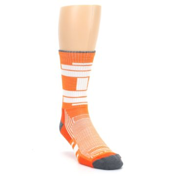 Image of Gray Orange Men's Running Endurance Crew Socks (side-1-front-02)