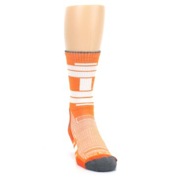 Image of Gray Orange Men's Running Endurance Crew Socks (side-1-front-03)