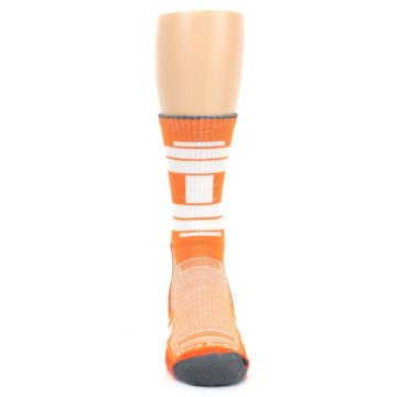 Image of Gray Orange Men's Running Endurance Crew Socks (front-04)