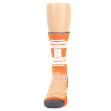 Image of Gray Orange Men's Running Endurance Crew Socks (front-05)