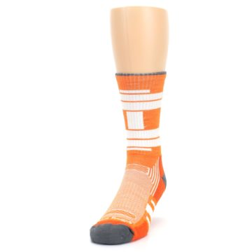 Image of Gray Orange Men's Running Endurance Crew Socks (side-2-front-06)