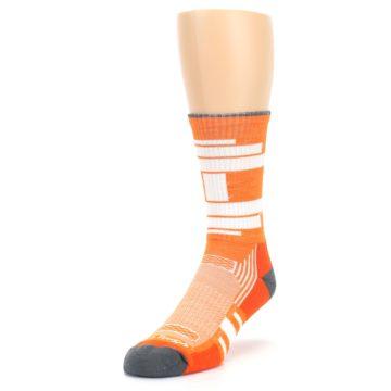 Image of Gray Orange Men's Running Endurance Crew Socks (side-2-front-07)