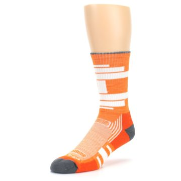 Image of Gray Orange Men's Running Endurance Crew Socks (side-2-front-08)
