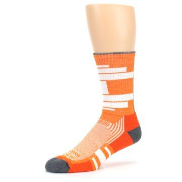 Image of Gray Orange Men's Running Endurance Crew Socks (side-2-09)