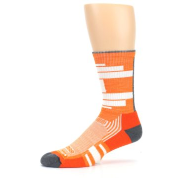 Image of Gray Orange Men's Running Endurance Crew Socks (side-2-10)