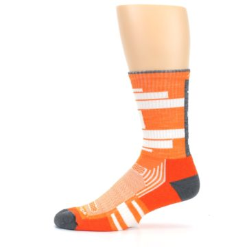 Image of Gray Orange Men's Running Endurance Crew Socks (side-2-11)