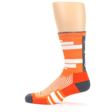 Image of Gray Orange Men's Running Endurance Crew Socks (side-2-12)