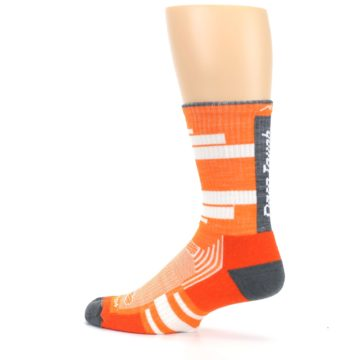 Image of Gray Orange Men's Running Endurance Crew Socks (side-2-13)