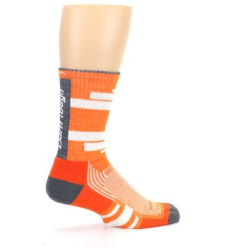 Image of Gray Orange Men's Running Endurance Crew Socks (side-1-23)