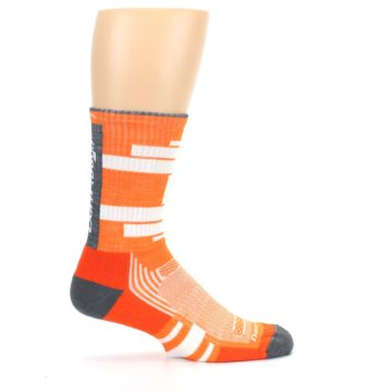 Image of Gray Orange Men's Running Endurance Crew Socks (side-1-24)