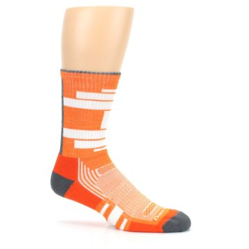 Image of Gray Orange Men's Running Endurance Crew Socks (side-1-25)