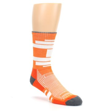 Image of Gray Orange Men's Running Endurance Crew Socks (side-1-27)