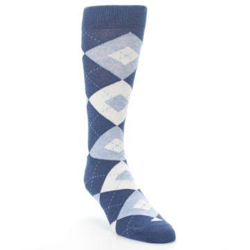 Image of Heathered Navy Argyle Men's Dress Socks (side-1-front-02)