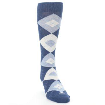 Image of Heathered Navy Argyle Men's Dress Socks (side-1-front-03)