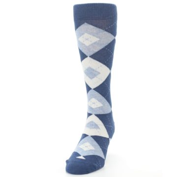 Image of Heathered Navy Argyle Men's Dress Socks (side-2-front-06)
