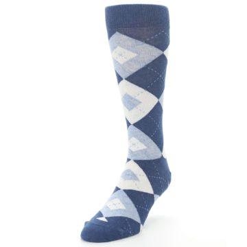 Image of Heathered Navy Argyle Men's Dress Socks (side-2-front-07)