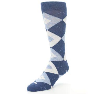 Image of Heathered Navy Argyle Men's Dress Socks (side-2-front-08)