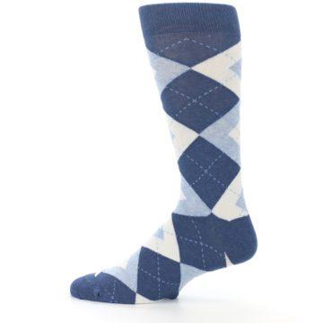 Image of Heathered Navy Argyle Men's Dress Socks (side-2-12)