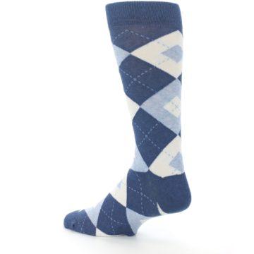 Image of Heathered Navy Argyle Men's Dress Socks (side-2-back-14)