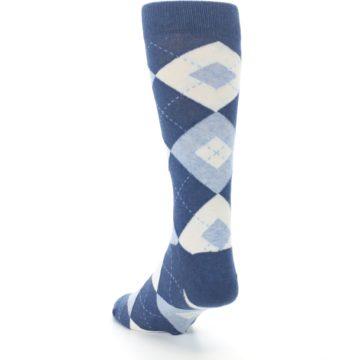 Image of Heathered Navy Argyle Men's Dress Socks (side-2-back-16)