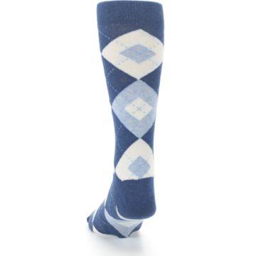 Image of Heathered Navy Argyle Men's Dress Socks (back-17)