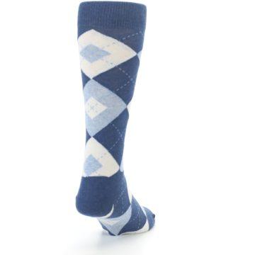 Image of Heathered Navy Argyle Men's Dress Socks (side-1-back-20)