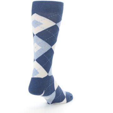 Image of Heathered Navy Argyle Men's Dress Socks (side-1-back-21)