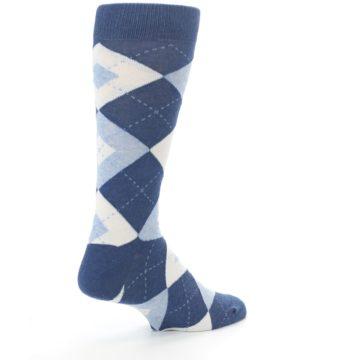 Image of Heathered Navy Argyle Men's Dress Socks (side-1-back-22)