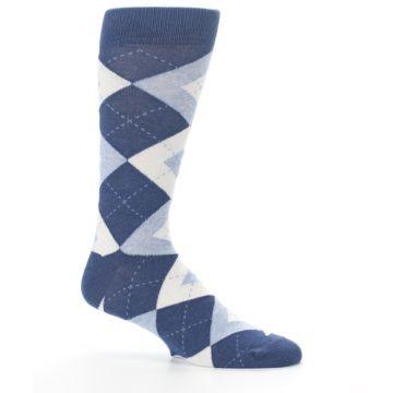 Image of Heathered Navy Argyle Men's Dress Socks (side-1-25)