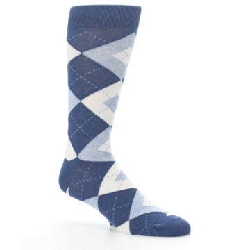Image of Heathered Navy Argyle Men's Dress Socks (side-1-26)