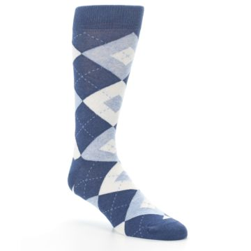 Image of Heathered Navy Argyle Men's Dress Socks (side-1-27)