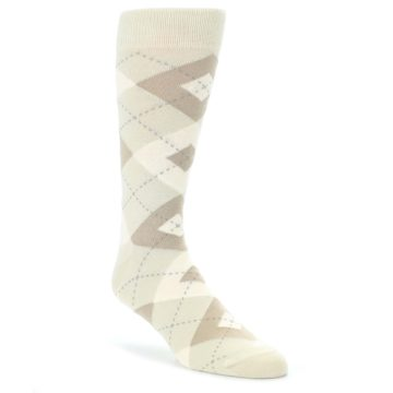 Champagne Groomsmen Wedding Argyle Socks