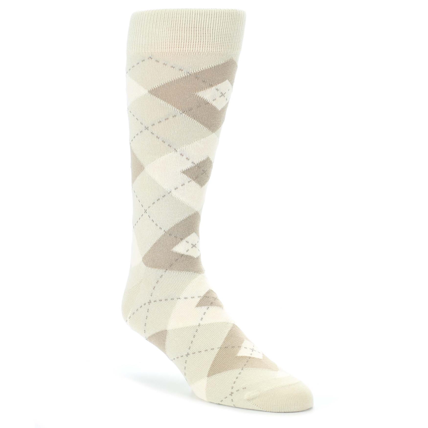 9f3b6e754cf6 Champagne Argyle Wedding Groomsmen Men's Dress Socks - Statement Sockwear