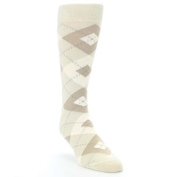 Image of Champagne Argyle Wedding Groomsmen Men's Dress Socks (side-1-front-02)