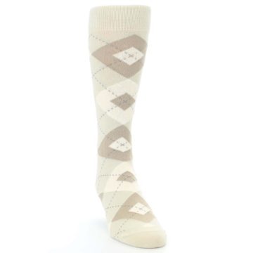 Image of Champagne Argyle Wedding Groomsmen Men's Dress Socks (side-1-front-03)