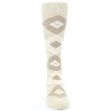 Image of Champagne Argyle Wedding Groomsmen Men's Dress Socks (front-04)