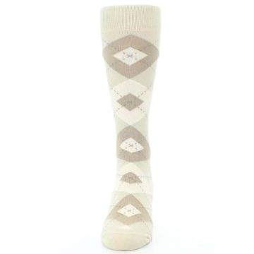 Image of Champagne Argyle Wedding Groomsmen Men's Dress Socks (front-05)
