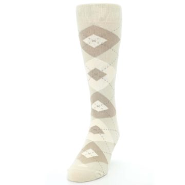 Image of Champagne Argyle Wedding Groomsmen Men's Dress Socks (side-2-front-06)