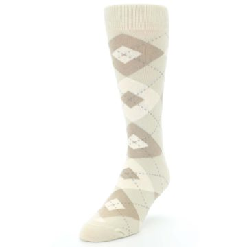 Image of Champagne Argyle Wedding Groomsmen Men's Dress Socks (side-2-front-07)