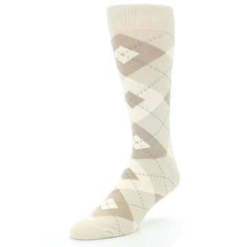 Image of Champagne Argyle Wedding Groomsmen Men's Dress Socks (side-2-front-08)