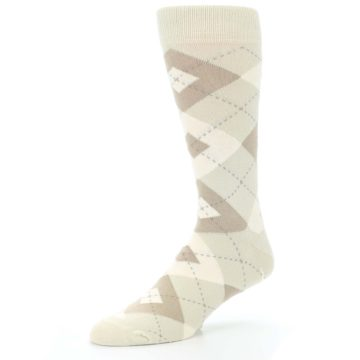 Image of Champagne Argyle Wedding Groomsmen Men's Dress Socks (side-2-09)