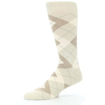 Image of Champagne Argyle Wedding Groomsmen Men's Dress Socks (side-2-10)