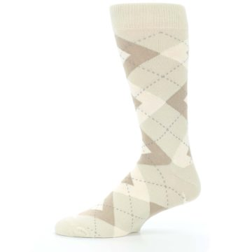 Image of Champagne Argyle Wedding Groomsmen Men's Dress Socks (side-2-11)