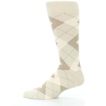 Image of Champagne Argyle Wedding Groomsmen Men's Dress Socks (side-2-12)